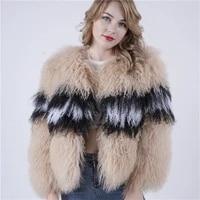 2019 womens fur coat mongolia lamb fur coat tibet sheep short sheep skin jacket genuine sheep real curly fur