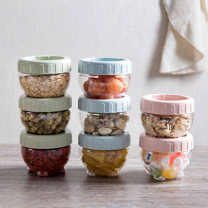 1 unidad de latas de plástico selladas/tarro de almacenamiento de alimentos, tarros de especias, frijoles, herramienta de almacenamiento de botellas de conservación de dulces, herramientas de cocina