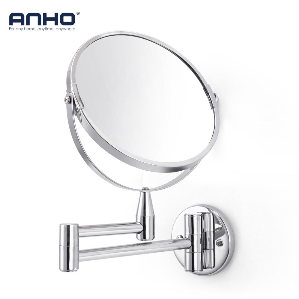 bathroom mirror antique red copper double side make up mirror dressing room round magnifying cosmetic mirror wall mounted nba631 Wall Mounted Makeup Mirror Bath Double Sided 7 1X/5X Magnification Bathroom Mirror Adjustable Round Type Cosmetic Beauty Mirror
