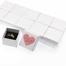 Jolies boîtes à bagues kraft/noir/rose/bleu/beige/blanc, bijoux, cadeau, boîte demballage avec étiquette damour coeur, décoration 100 pièces 4*4*3cm