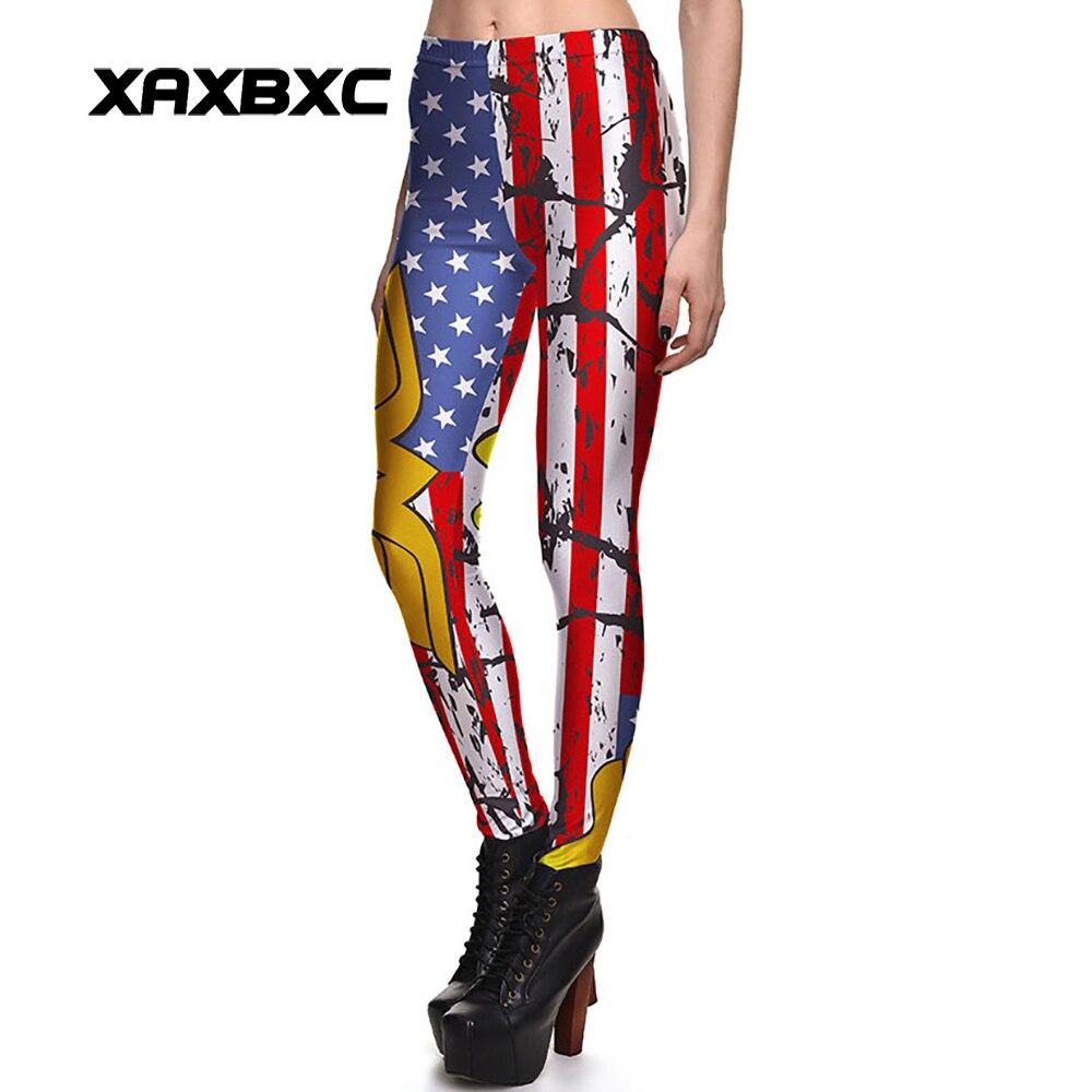 NOVEDAD DE 3888, mallas de Entrenamiento para mujeres atractivas con bandera Retro de los Estados Unidos, estampado de batalla, mallas de entrenamiento para mujeres delgadas elásticas, pantalones de talla grande