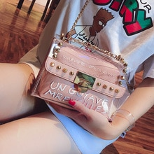 2020 Summer Fashion New Handbag High quality PVC Transparent Women bag Sweet Printed Letter Square Phone bag Chain Shoulder bag