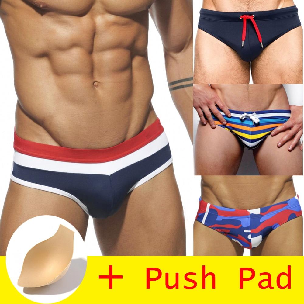 HIBUBBLE 17 Styles Swimwear Men Brief With Push Pad Sexy Swimsuit Waterproof Swimming Trunks For Bathing Swim Shorts Sunga Hot