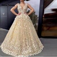 champagne tulle 3d applique lace prom dresses illusion v neck floor length evening dress vestido de gala