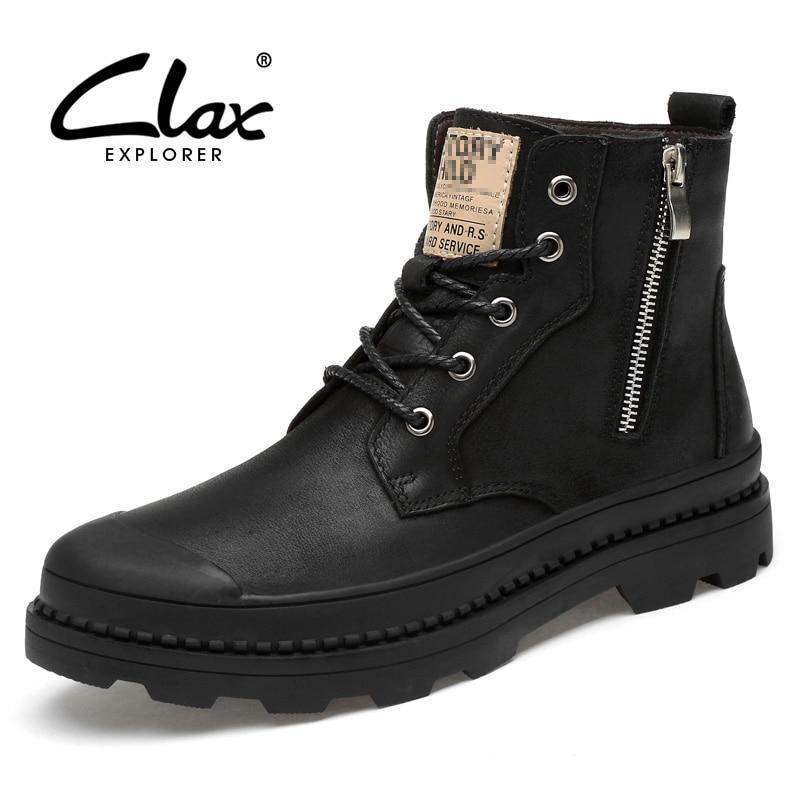 حذاء رجالي من الجلد الطبيعي من CLAX حذاء خريفي من الجلد عالي الجودة مزود بسحّاب للدراجة النارية حذاء للشتاء مصنوع من الفرو الدافئ