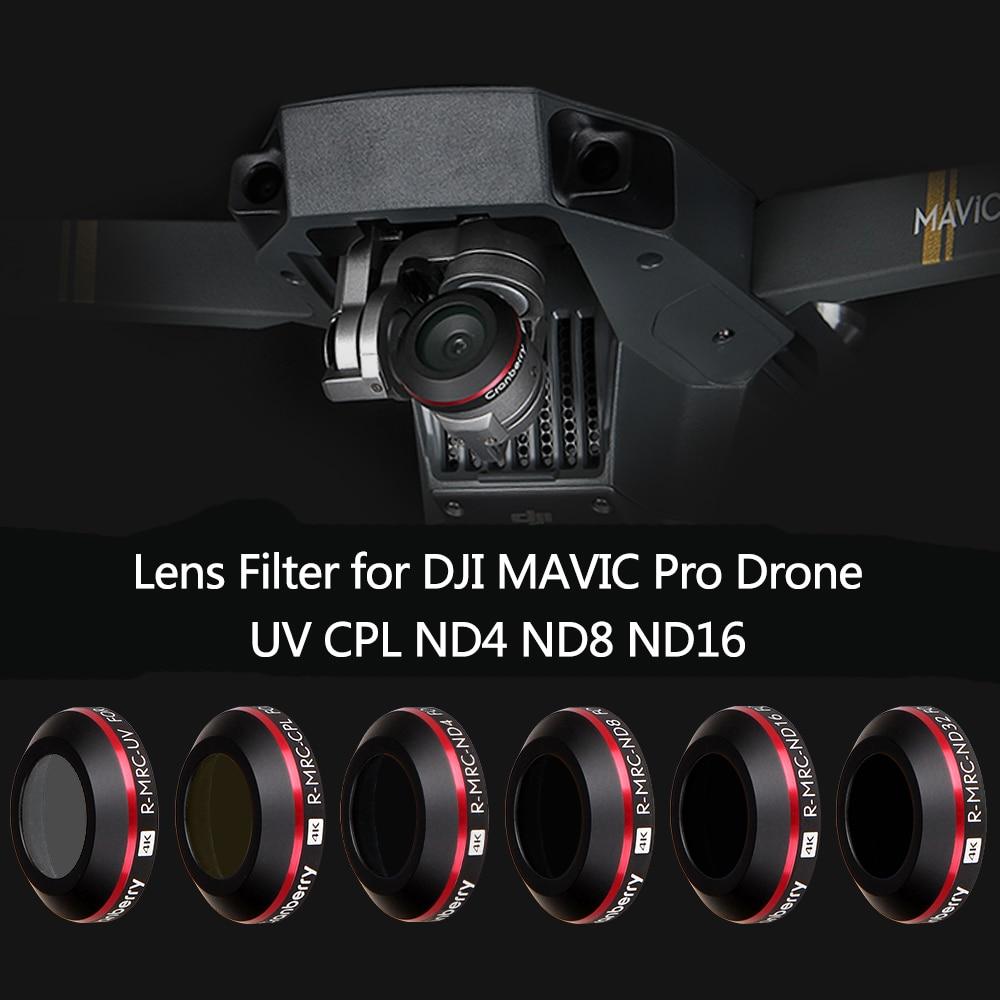 Filtre dobjectif UV ND4 ND8 ND16 CPL pour DJI Mavic Pro caméra platine Drone polarisant filtre à densité neutre avec étui de protection