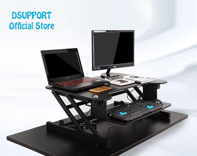 Easyup altura ajustável sentar suporte de mesa riser dobrável portátil suporte de mesa com bandeja teclado notebook/monitor suporte