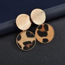 Mode ronde léopard boucles doreilles femmes mignon coloré fourrure or couleur pendentif boucles doreilles pour les femmes déclaration bijoux cadeau