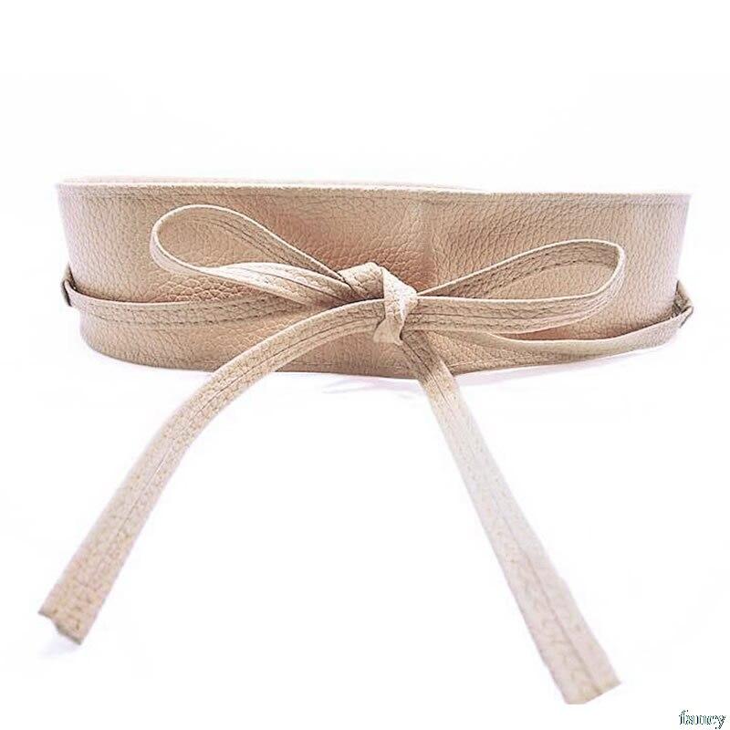 Womens Soft Leather Wide Self Tie Wrap Around Obi Waist Band Boho Dress Belt Drop ship # surplice wrap tie waist stripe dress