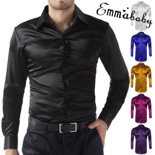 HIRIGIN soie Satin hommes à manches longues de luxe robe chemise italienne Type chemises Blouse formelle