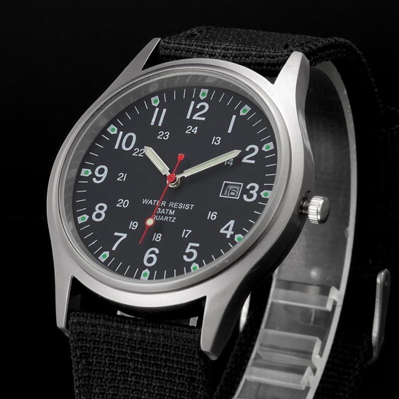 Reloj militar a la moda para hombre, reloj analógico de cuarzo, pulsera de lona, reloj de pulsera deportivo resistente al agua del ejército ~ TT @ 88