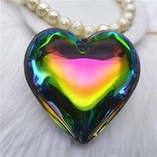 50mm rainbow/metallic green/heart/love/peach shape chandelier pendants DIY accessories k9 glass drops findings curtain 5pcs PN32