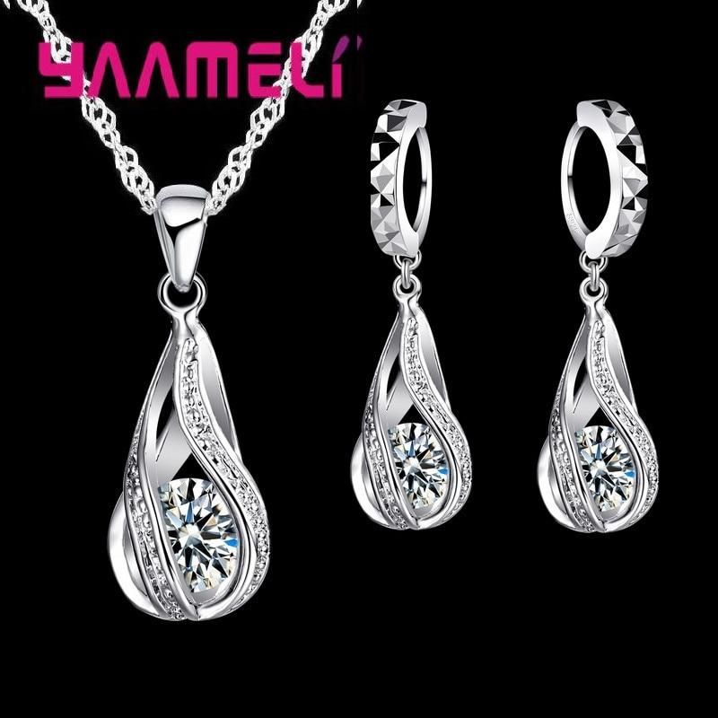 Hot Water Drop CZ 925 Sterling Silver Jewelry Set For Women Pendant Necklace Hoop Earrings Wedding P