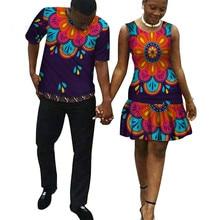 2 stück Set African Dashiki Drucken Paar Kleidung für Liebhaber Männer Hemd Tops und hose frauen kleid kausalen Mode WYQ49