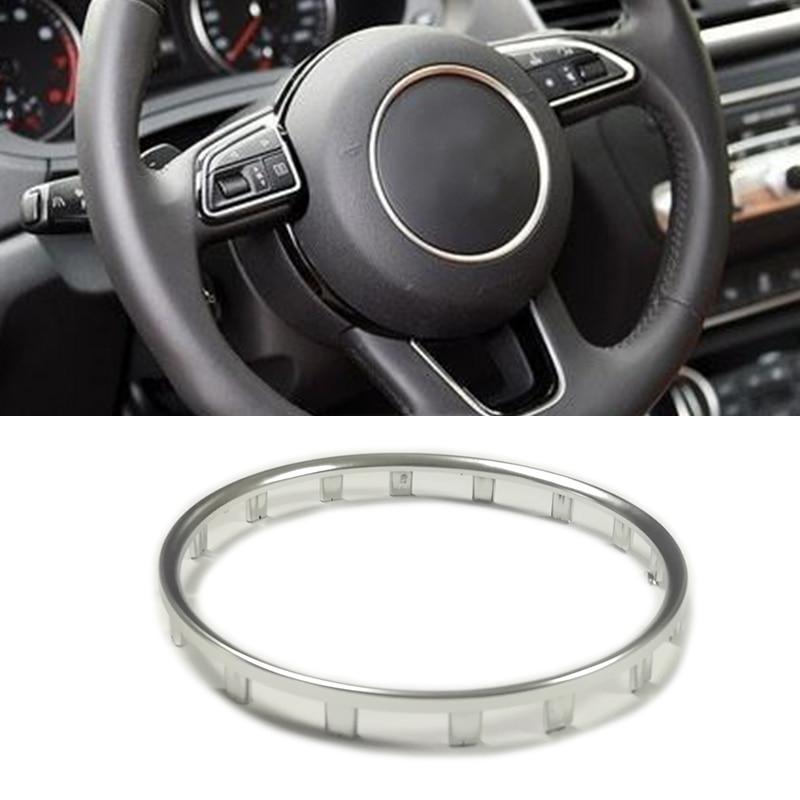 Silber chrom ABS auto lenkrad trim zentrum emblem logo ring aufkleber dekoration auto zubehör für Audi a1 a4 b9 a5 a7