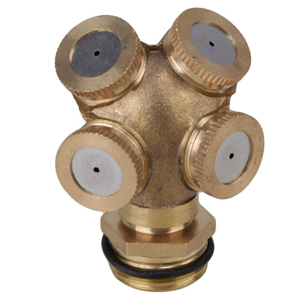 "Oro 4 agujero 1/2 ""boquilla de aspersor de latón para pulverización jardín instalación de rociadores MANGUERA DE AGUA conector"