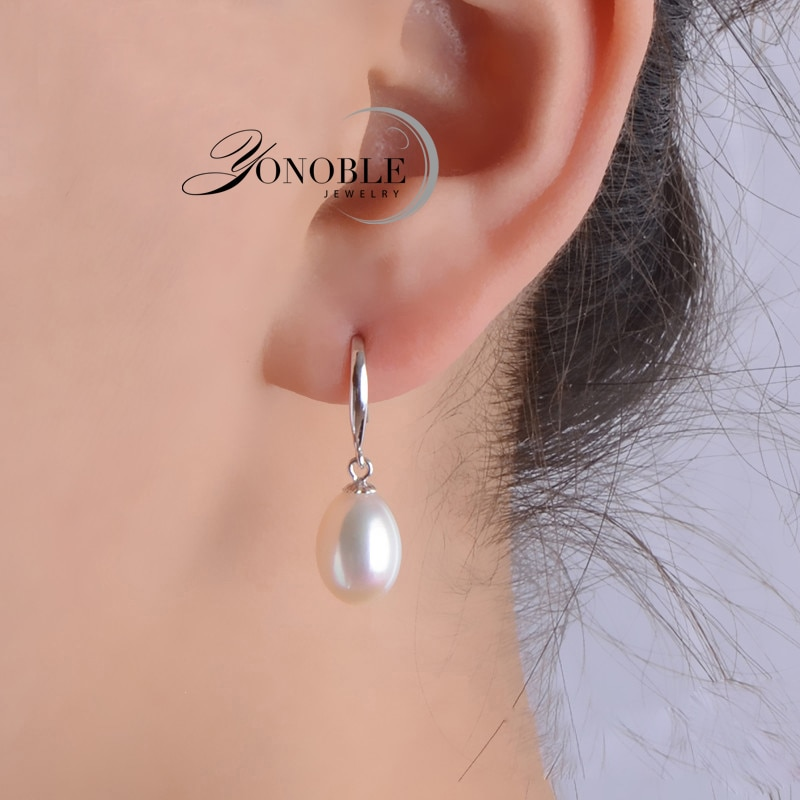 Real natural pearl earrings for women 925 silver white freshwater drop earring