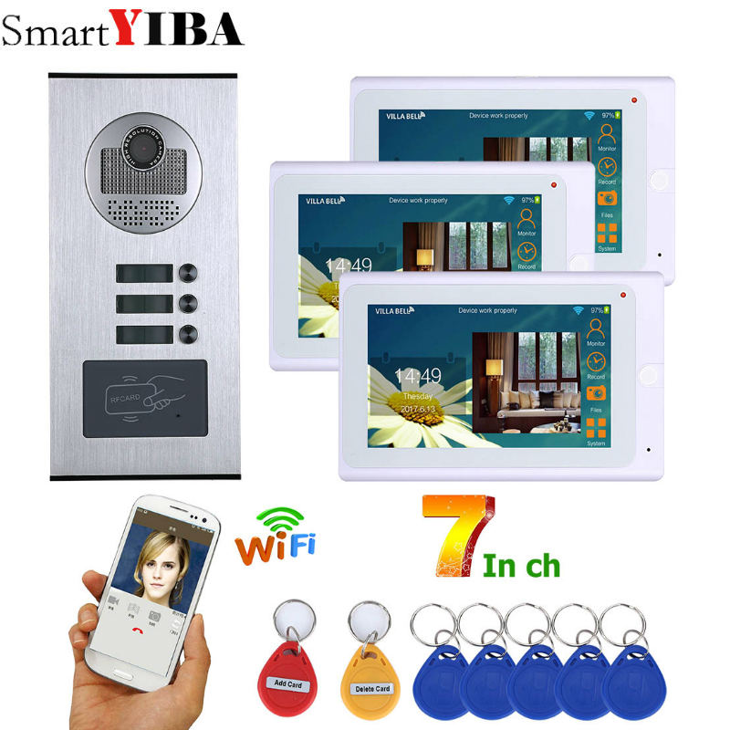 SmartYIBA 3 7 Polegada Monitores LCD Wi-fi RFID Desbloquear Visual Speakerphone Vídeo Campainha Interfone telefone Video Da Porta de Controle Remoto