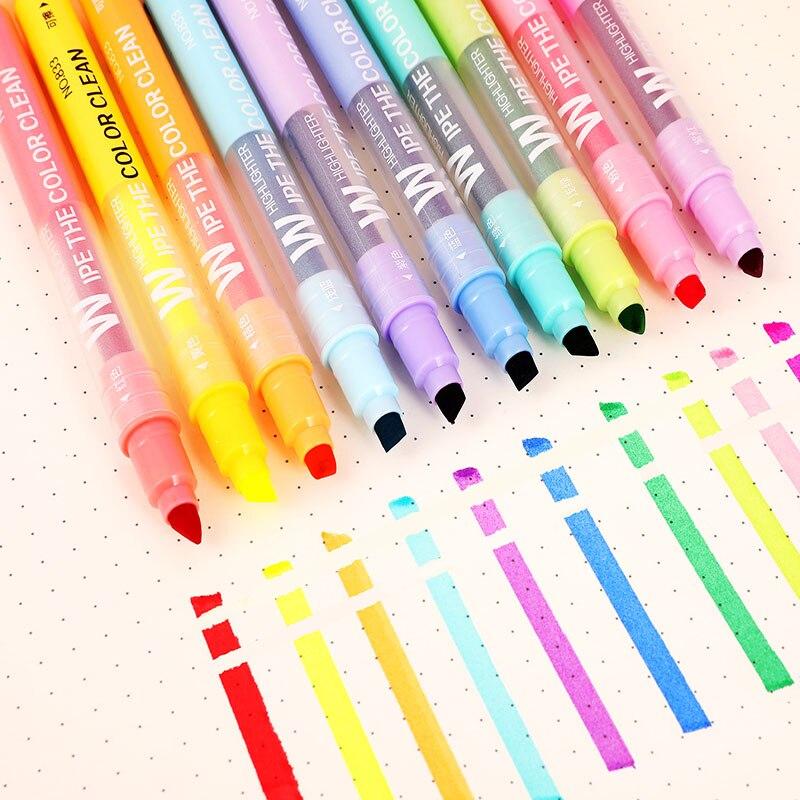 10 uds/lote resaltador que se puede borrar pluma pastel marcadores pluma fluorescente marcadores dibujo pintura arte inmóvil suministros 04431
