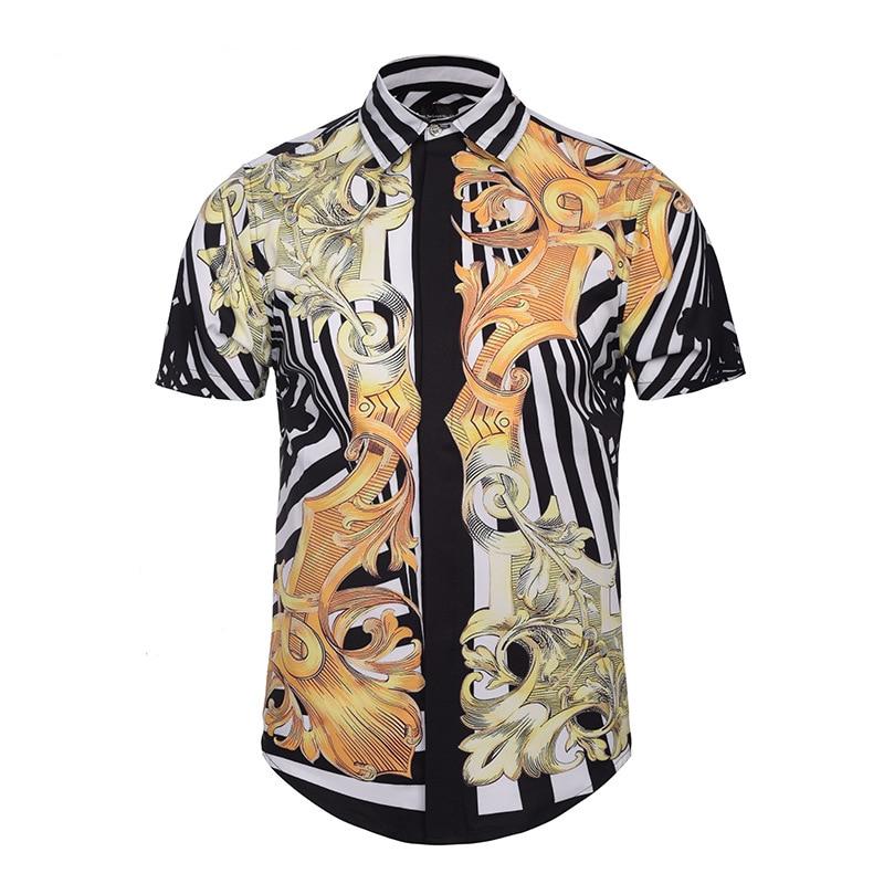 Palace show Medusa Shirts Men Short Sleeve Floral Dress Shirts Fashion 3D Print Luxurious Brand Harajuku Summer Men Dress