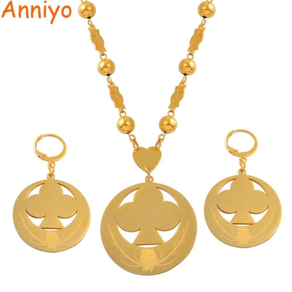 Anniyo marshall pingente contas colares brincos conjuntos de jóias cor do ouro flor bola correntes micronésia chuuk presentes feminino #066721