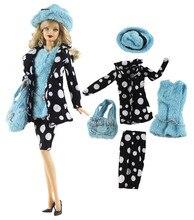 Nk Een Set Pop Jurk Fashion Spot Jas Moderne Outfit Dagelijks Casual Wear Hat Bag Voor Barbie Pop Accessoires Gift baby Speelgoed 91DZ