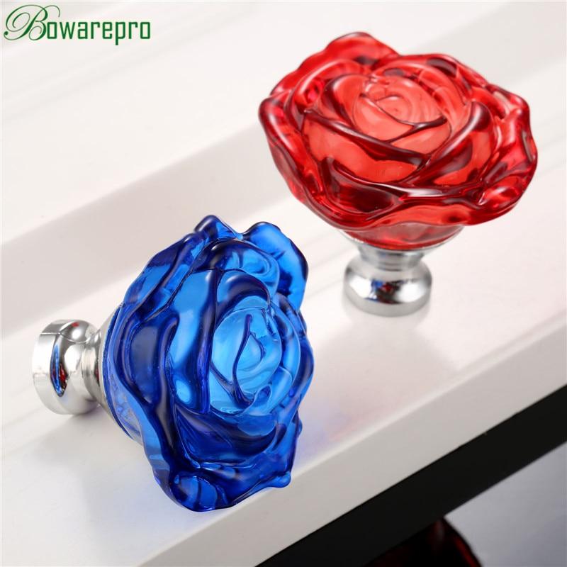 Bowarepro 50 мм Хрустальная роза ручка для шкафа Ручка для ящика выдвижная ручка кухонная дверь шкаф аппаратные шарообразные ручки для мебели