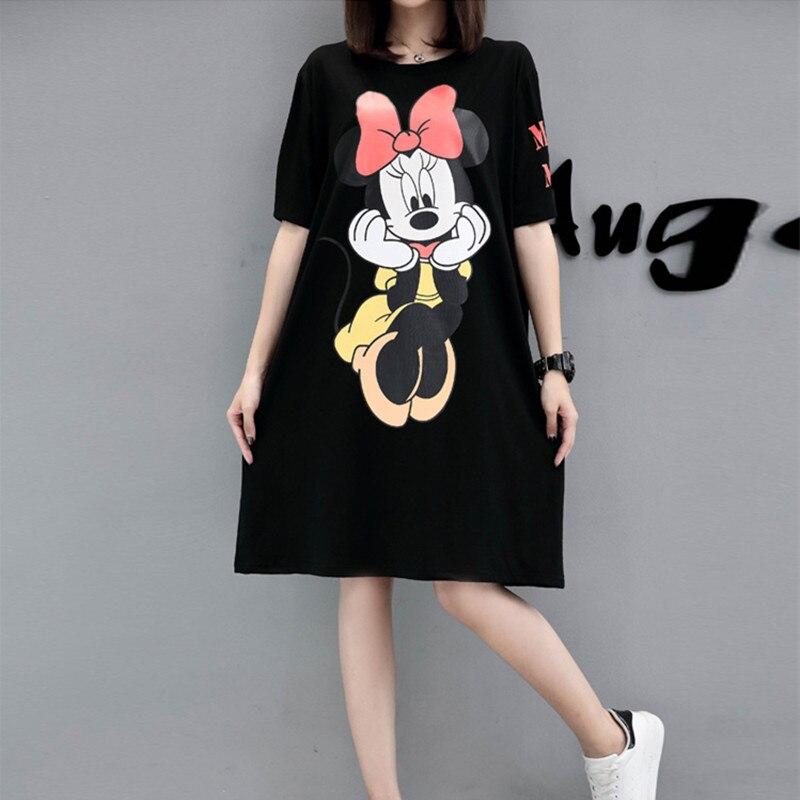 Vestido de verano con estampado de dibujos animados para mujer, talla grande 5XL, Camiseta de algodón de manga corta para mujer, vestido suelto de camiseta informal