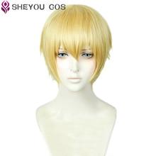 Destin/nuit Gilgamesh perruque Cosplay courte Blonde dorée cheveux résistants à la chaleur perruques Cosplay + capuchon de perruque