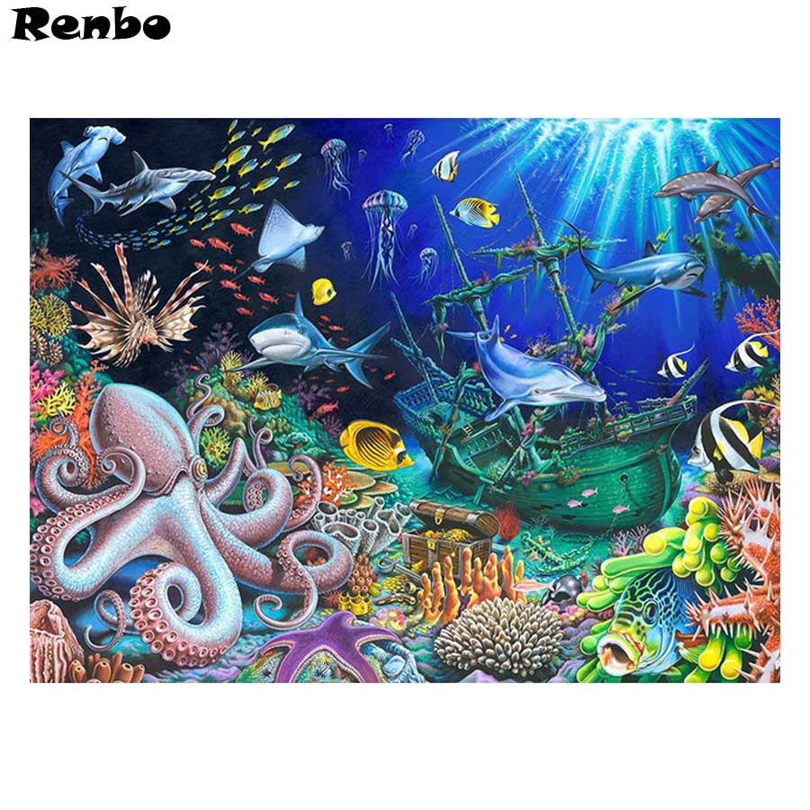 Алмазная мозаика 5d «Подводный мир», квадратный набор для рукоделия, вышивка крестом, алмазная вышивка для домашнего декора, осьминог, рыба