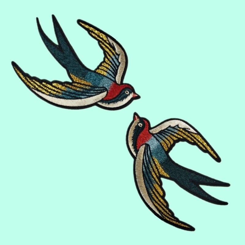 1 par de apliques de golondrina bordada para coser bonitos parches de pájaros para ropa bolsa Diy artesanía boda decoración del hogar moda