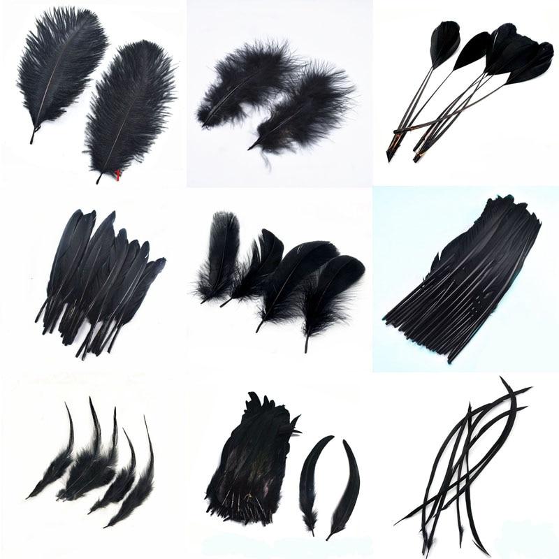20 Uds plumas de ganso de avestruz negras para manualidades DIY pluma de gallo de faisán teñida para la fabricación de joyas, plumas para el hogar, decoración para fiestas
