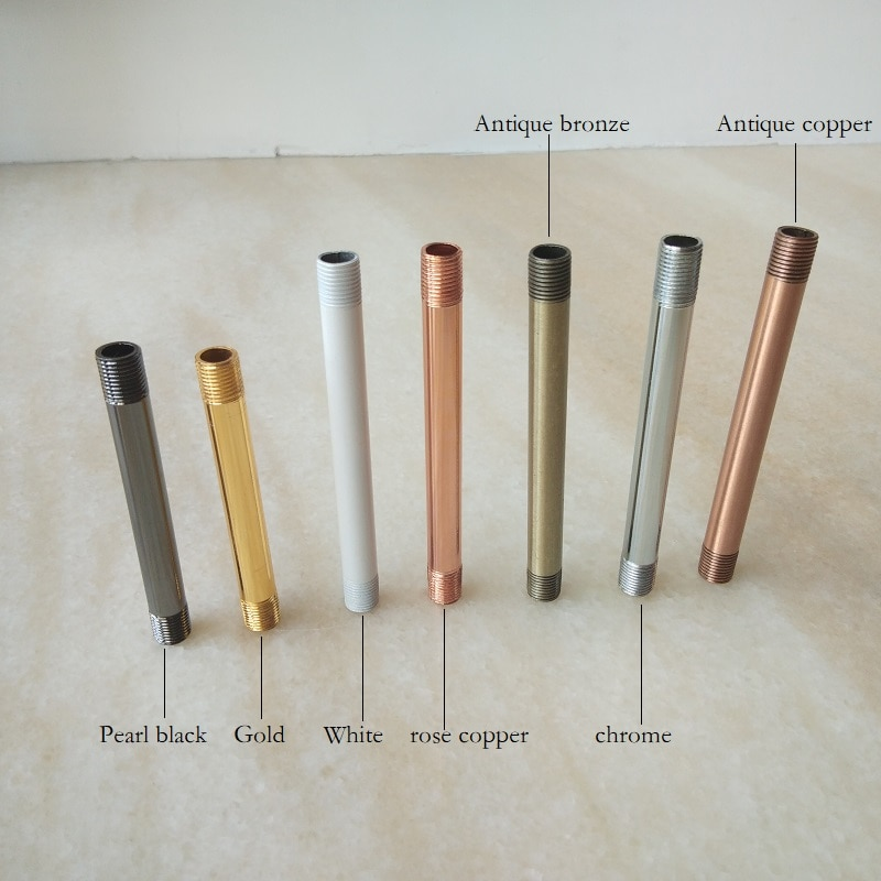 4 piezas/lote M10, Perno de metal chapado, lámpara de tubo roscado hueco, accesorio de aleación, tubo de conexión hueco, accesorios de iluminación DIY