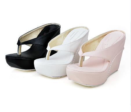 Women High Heels Slippers Woman Wedges Sandals Summer Shoes Thick Soled Toe Ladies Flip Flops Big Size 42 44 Platform Sandals