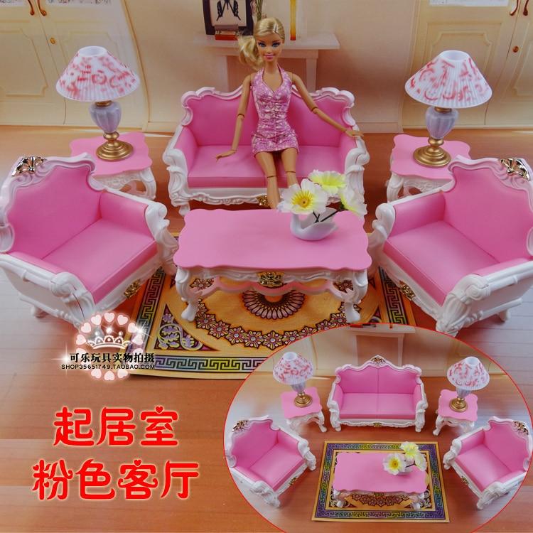 Мебель для гостиной (диван + кофейный столик + лампа), аксессуары для кукол Барби, 1/6 игрушек, подарок на день рождения для девочки, пластиковый игровой набор