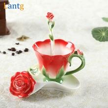 Tasse à café en émail Rose 3D   Service de tasse à thé et à lait avec cuillère et soucoupe, céramique créative os de leurope verres de porcelaine cadeau de mariage