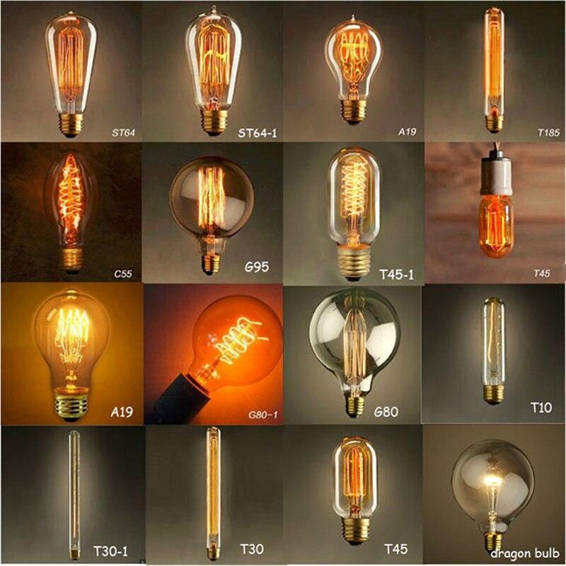 Vintage Edison Glühbirnen wolframdraht lichtquelle Pendelleuchten 110 V 220 V E27/E26 Messing Lampenfassung Glühlampen