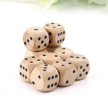 10 pièces 6 dés en bois dés Cubes coin rond dés fête enfant jouets outils de jeu 14*14*14mm divertissement dés numériques