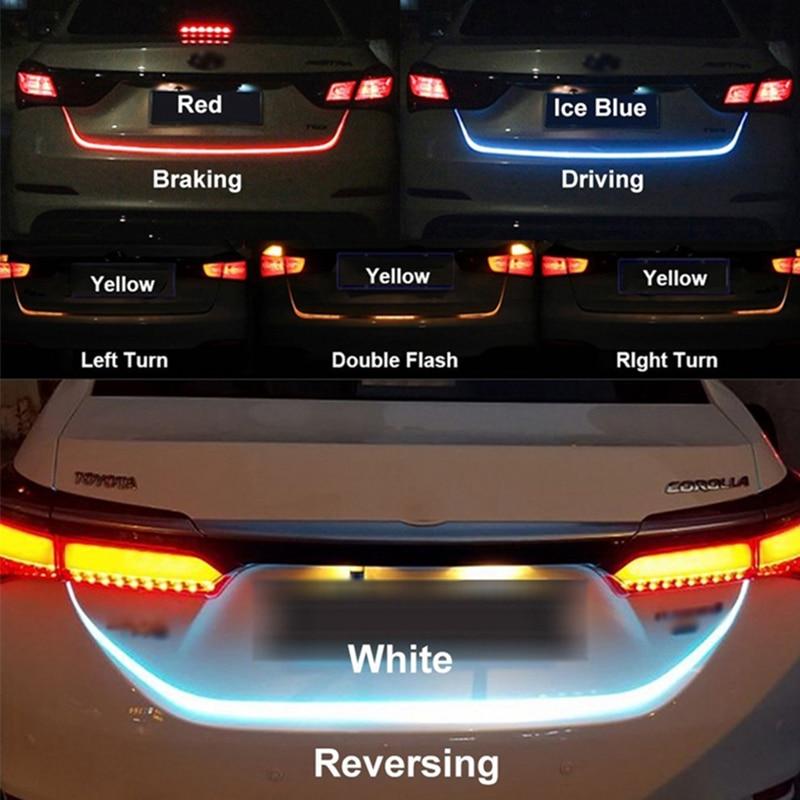 OKEEN 120cm car-styling amarillo intermitente led tira de luz para maletero para coche maletero led puerta trasera tira flash sigue la luz LED