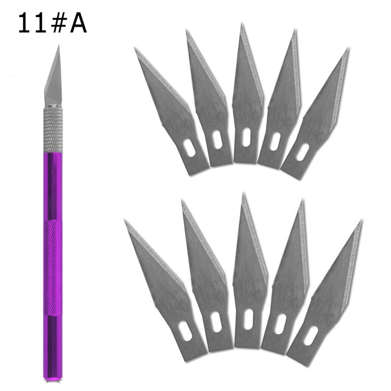 1 manico per coltello con cellulare sostitutivo a 11 lame e PCB, utensili manuali per riparazioni fai-da-te, lama per bisturi chirurgica