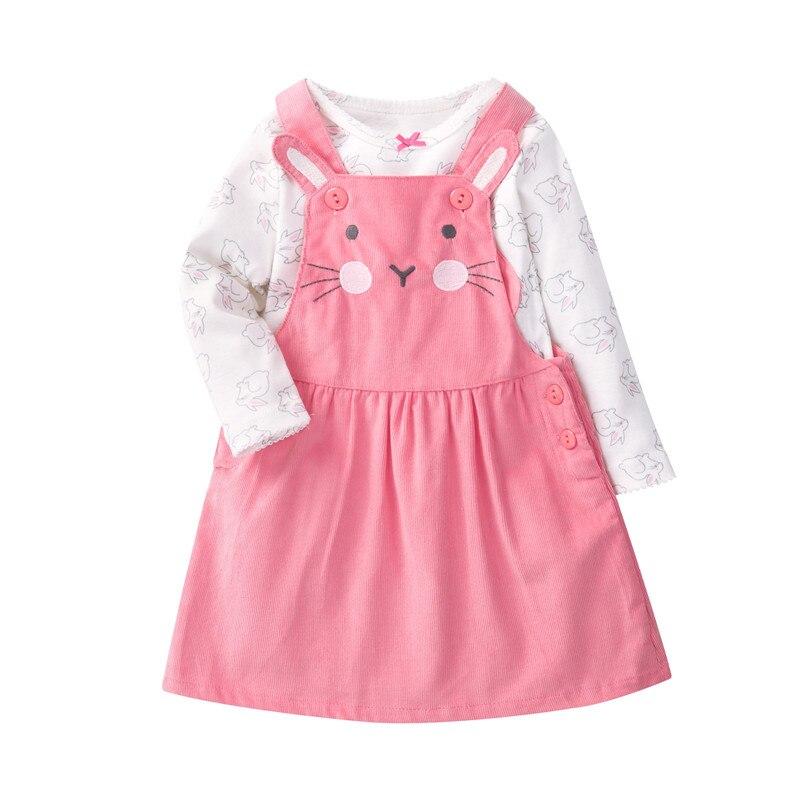 Orangemom super agradável roupas da menina do bebê rosa dos desenhos animados nova manga longa t camisa + gato vestidos infantis 2 pcs conjuntos de bebê para meninas