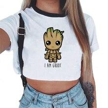 Femmes T-shirt mignon Bady Groot imprimé Sexy haut court T-shirt T-shirt drôle mode Vogue dessin animé T-shirt Harajuku recadrée Tumblr