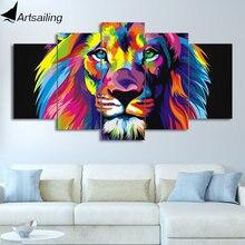 Artsail-peinture de lion coloré 5 pièces   Peinture murale, chien, éléphant, girafe, ours aigle, animaux, toile dart murale imprimée HD