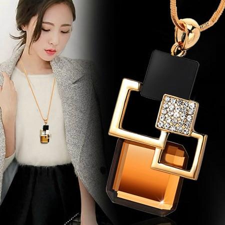 Европейский и американский стиль, новинка, модное золотистое геометрическое ожерелье с большим кристаллом и подвеской, изящное ювелирное и...