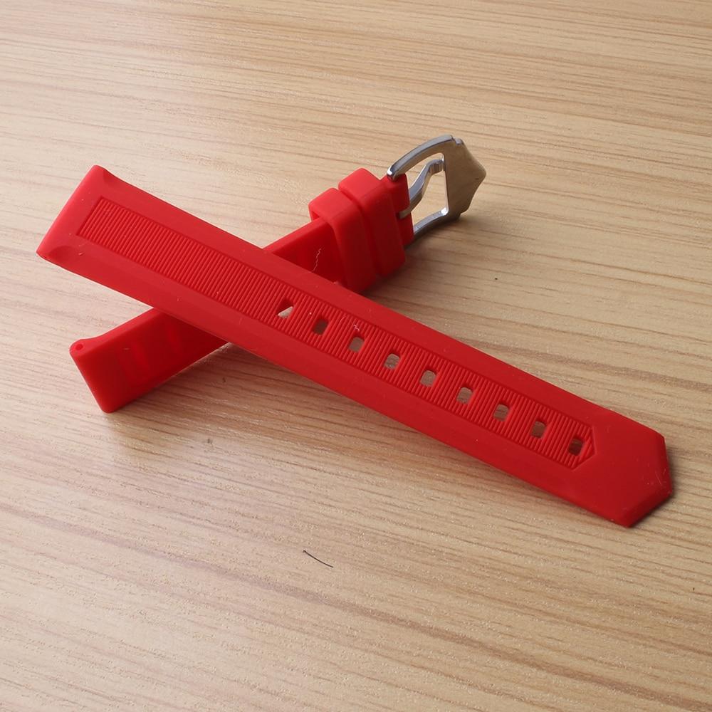 12mm 14mm 16mm 18mm 20mm 22mm 24mm 26mm Silicone Rubber Watchbands soft Straps for Sport Watches Wrist Band Belt Bracelet Red