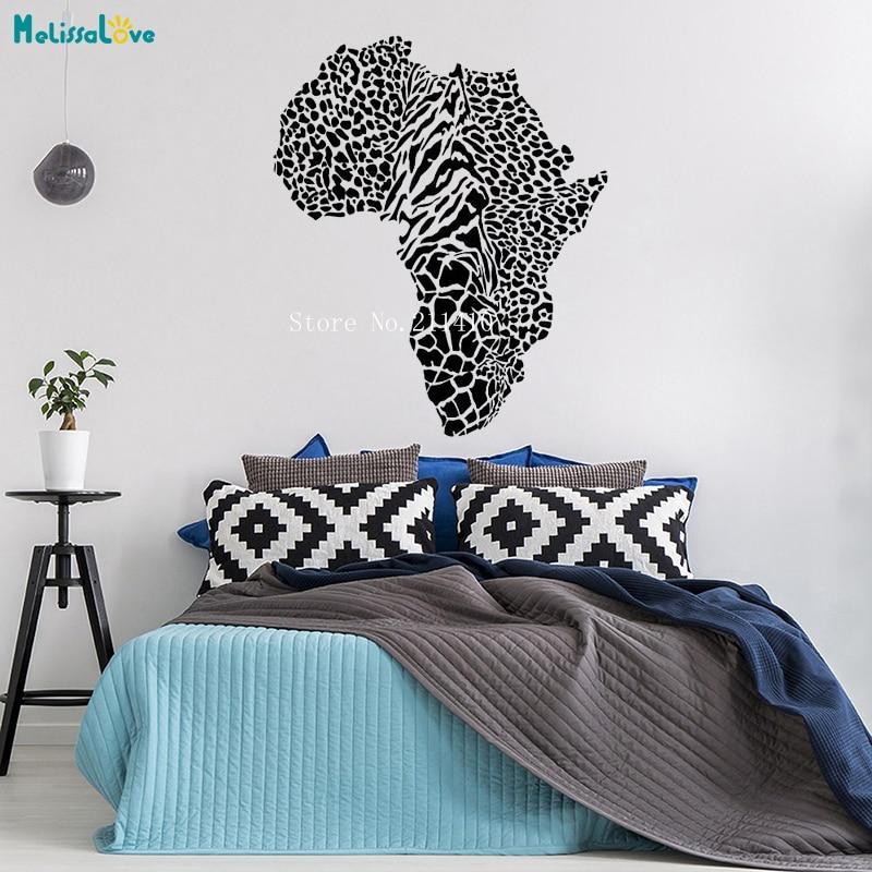 Adhesivo con diseño de mapa para pared Animal salvaje leopardo guepardo piel África pegatinas de mapa decoración nueva sala murales de arte extraíbles YT758