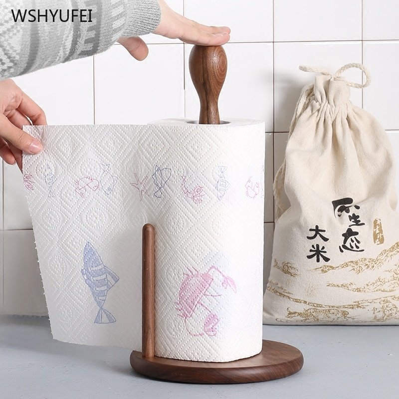 Direct sales simple solid wood paper towel rack free punching kitchen desktop vertical paper holder paper towel storage rack