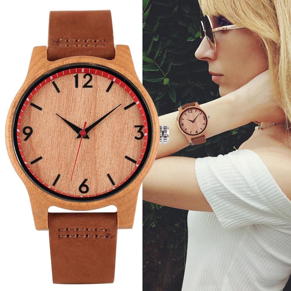Women's Quartz Wooden Watch Leather Strap Wooden Wristwatch Lightweight enlarge