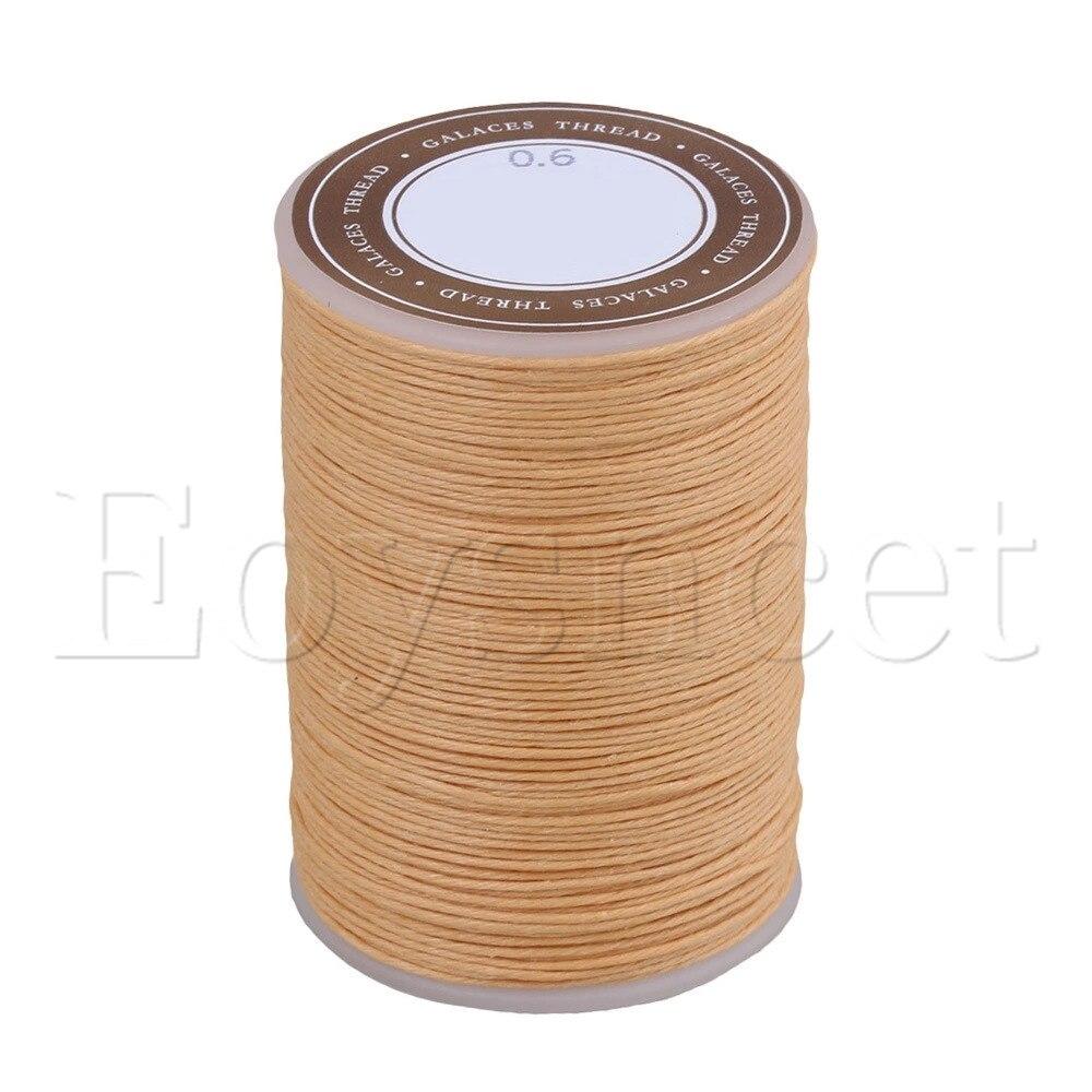 0,6mm Dia 95m Beige ramio cordón encerado hilo de cera lino para costura artesanal