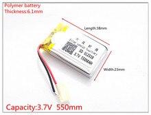 Polymeer batterij 612338 3.7 v 550 mah smart home MP3 luidsprekers Li-Ion batterij voor dvr, GPS, mp3, mp4, mobiele telefoon, luidspreker